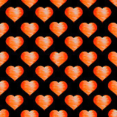 istock Bright orange hearts with texture on a black background. Seamless pattern. Watercolor illustration. For packaging design, postcards, printing on fabric. 1341484941