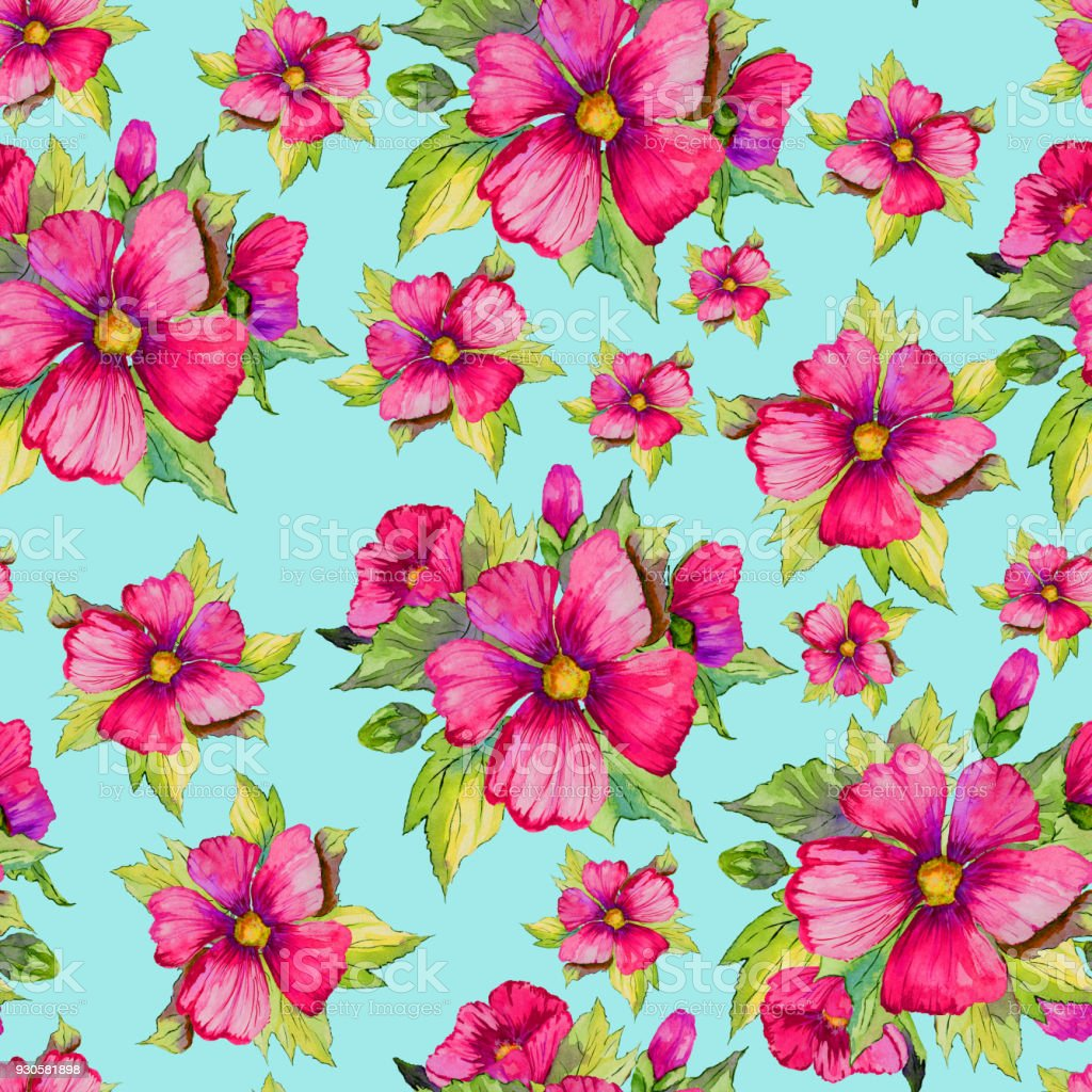 Bright pink malva flowers with green buds and leaves on light blue bright pink malva flowers with green buds and leaves on light blue background seamless floral mightylinksfo Choice Image
