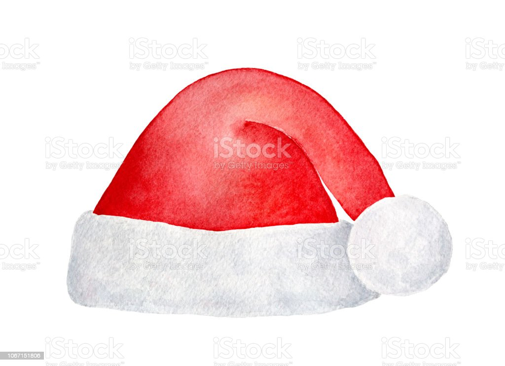 cb6238fd8ec Bright red Santa hat with cute fluffy pom-pom for Christmas party. One  single object