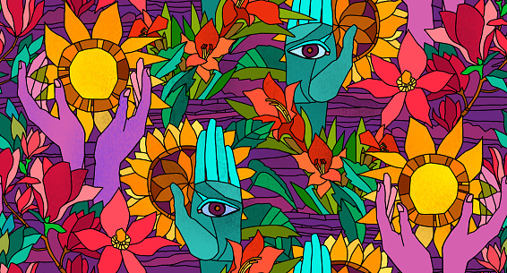 Bright seamless pattern with sunflowers,  magnolia, gladiolus and human hands