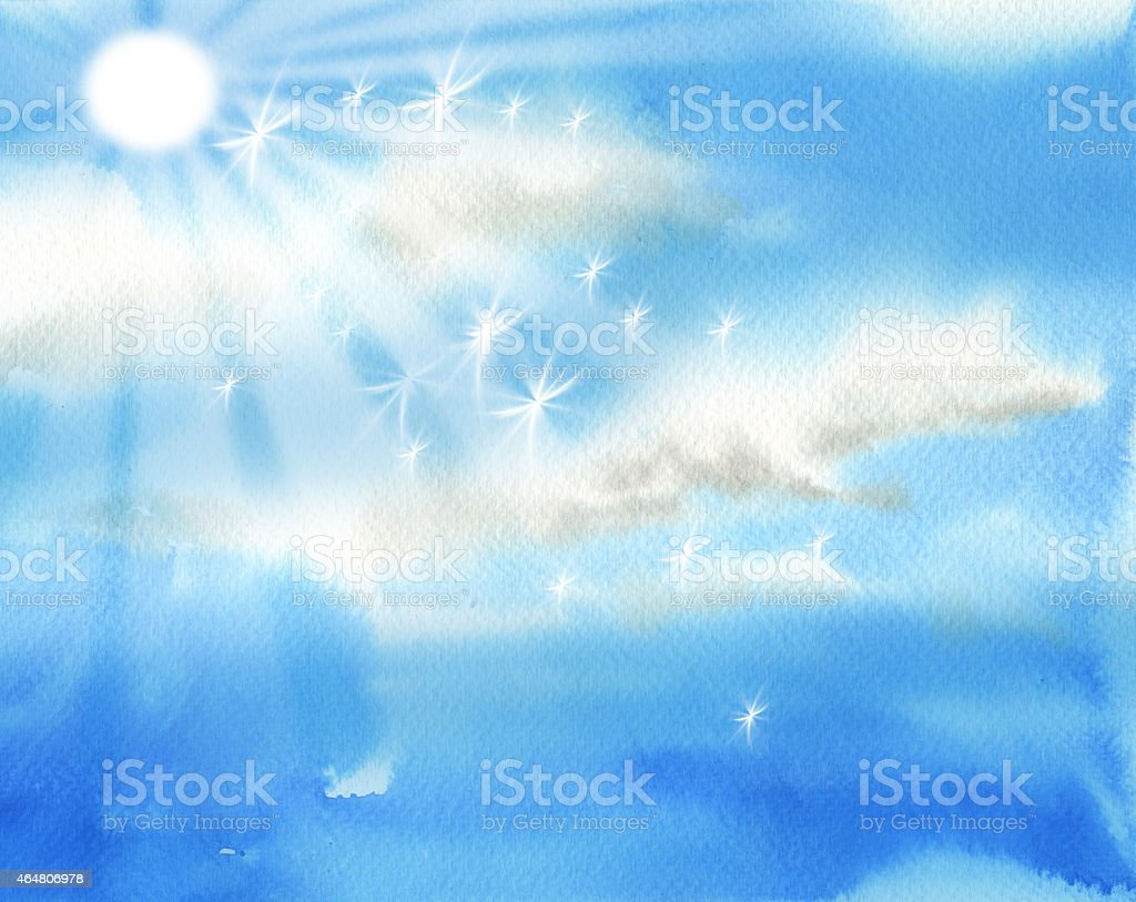 Bright sky with sun and clouds illustration vector art illustration