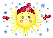 Bright sun in a hat and mittens on background with snowflakes