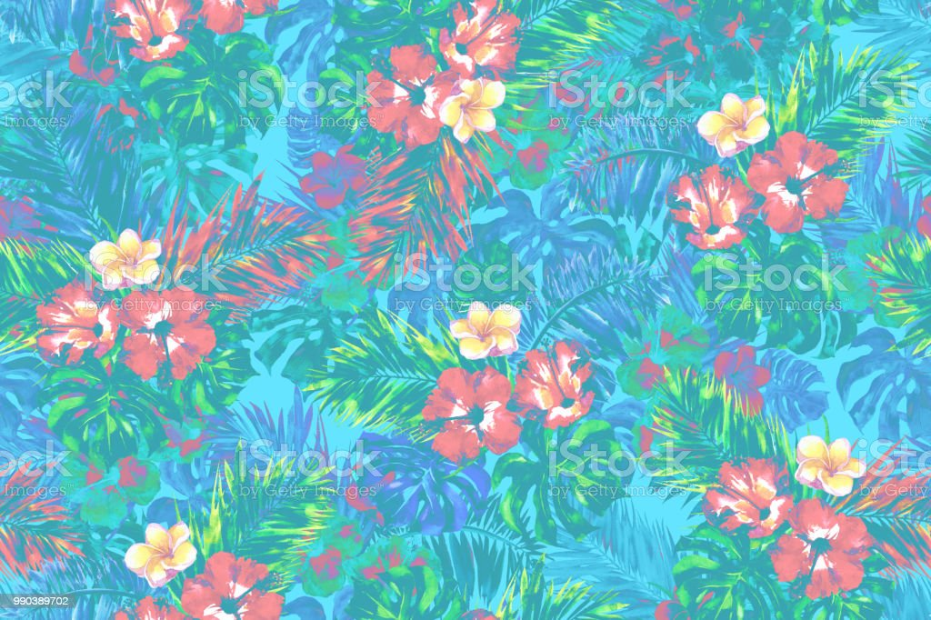 Bright Tropical Floral Pattern Pastel Amazing Color Blossom Flowers Seamless Background Palm Leaf Coconut Leaves