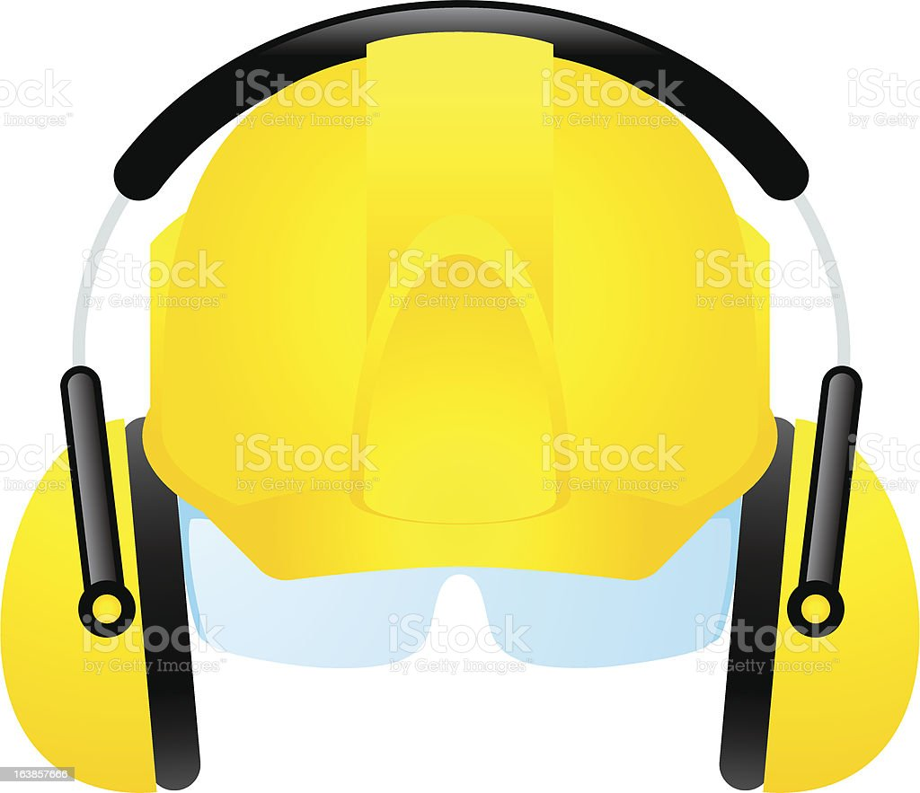 bright yellow safety hard hat vector art illustration