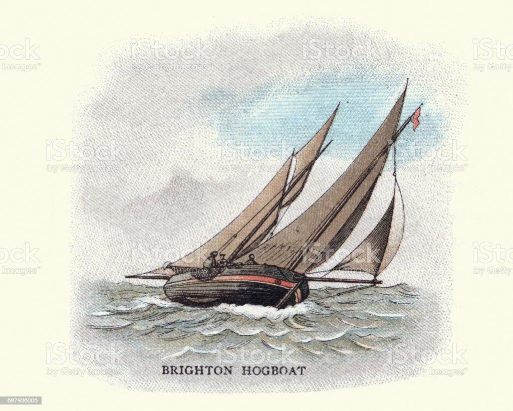 Brighton hog boat, 19th Century vector art illustration