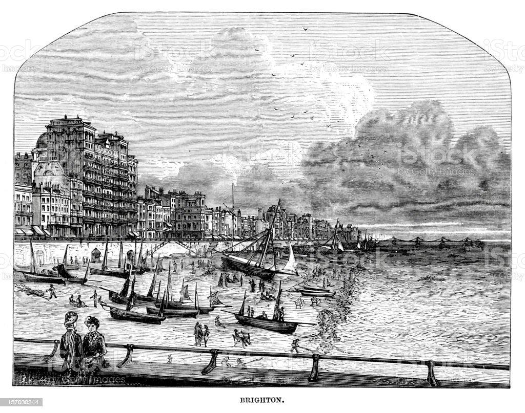 Brighton in the 19th Century vector art illustration