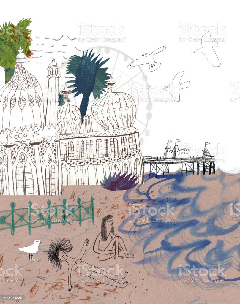 Brighton in United Kingdom vector art illustration