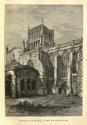 Bristol Cathedral, England, 19th Century. Medieval gothic architecture