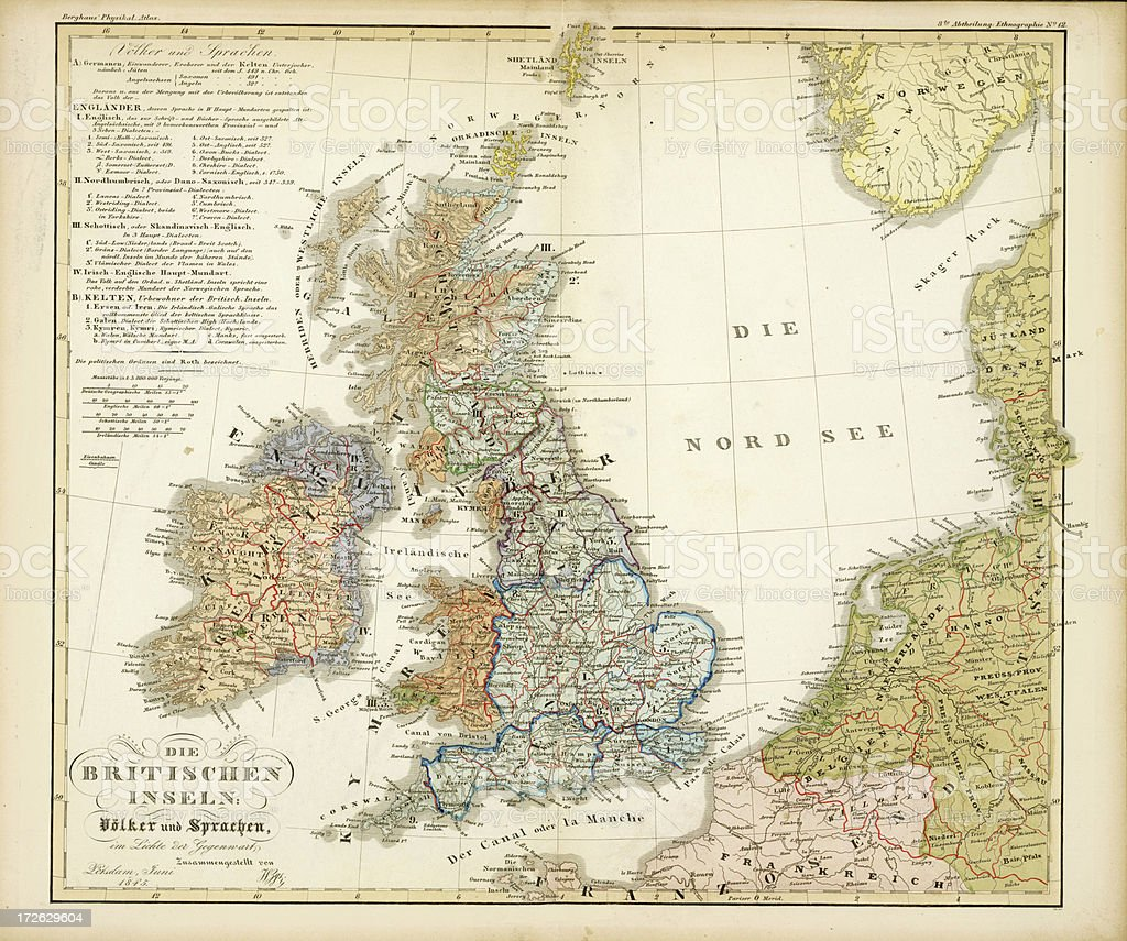 Britain Antique Map vector art illustration