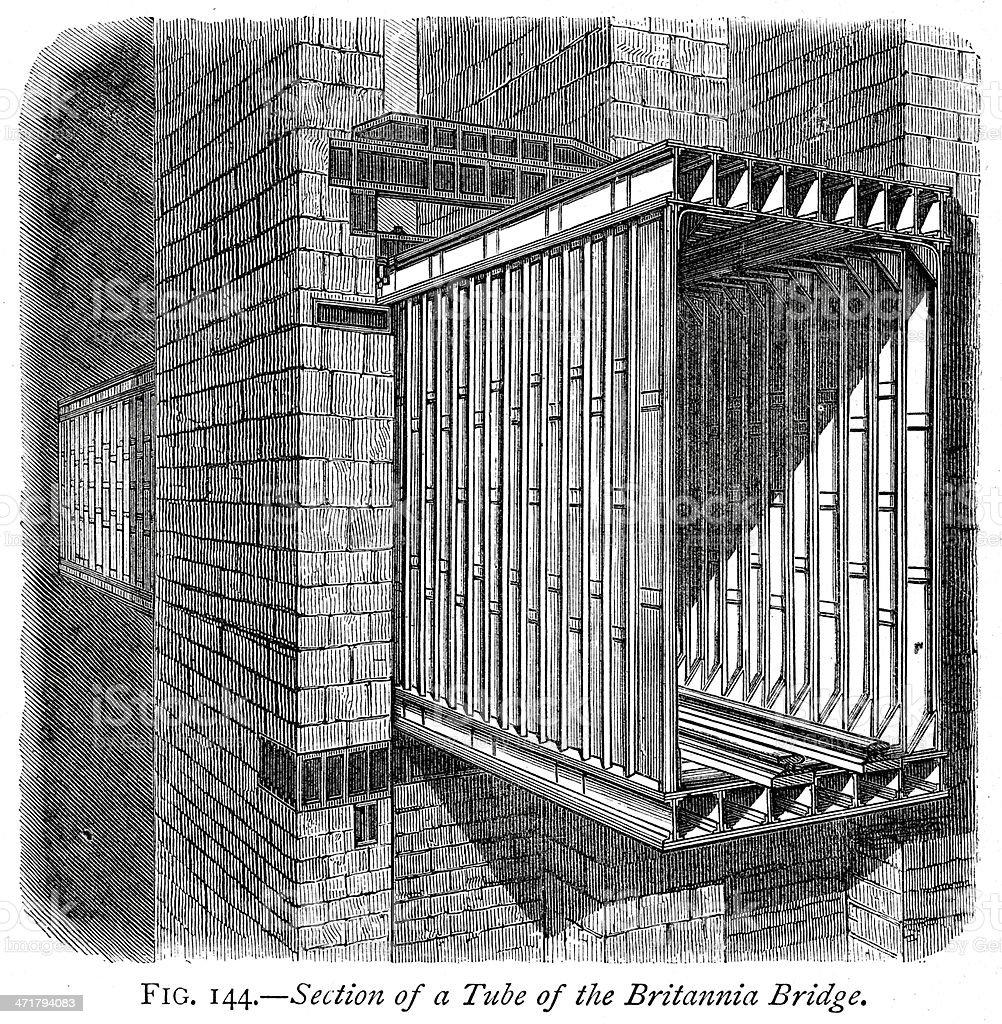 Britannia Bridge vector art illustration