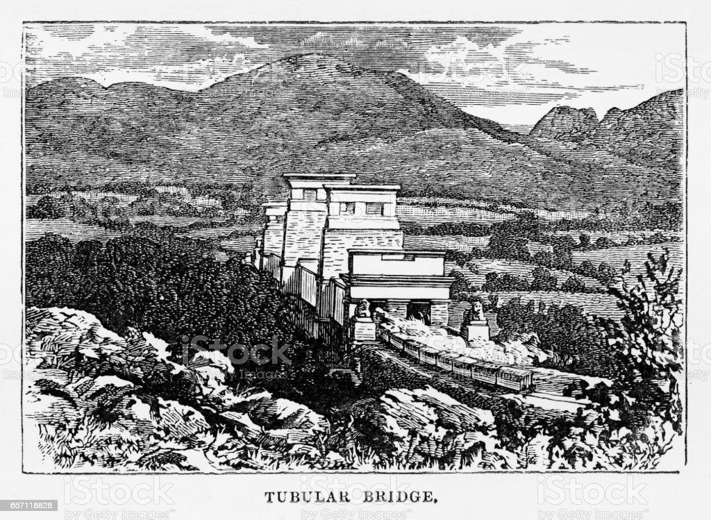 Britannia Bridge in Anglesey, Wales Victorian Engraving, 1840 vector art illustration