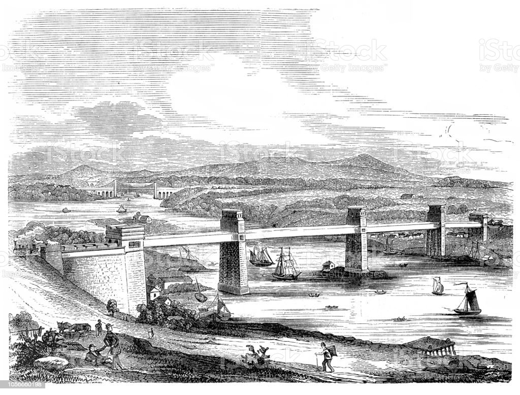 Britannia Bridge (Welsh: Pont Britannia) is a bridge across the Menai Strait between the island of Anglesey and the mainland of Wales vector art illustration