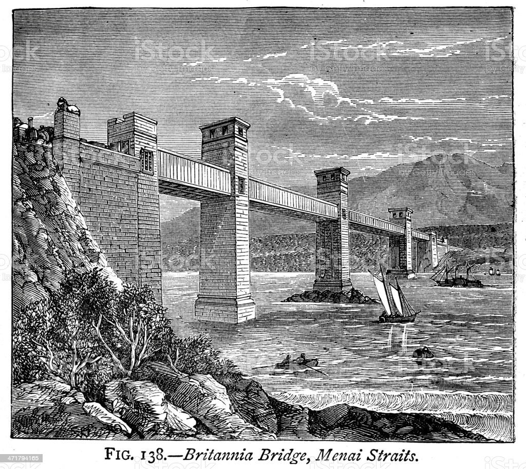 Britannia Bridge, Menai Straits vector art illustration