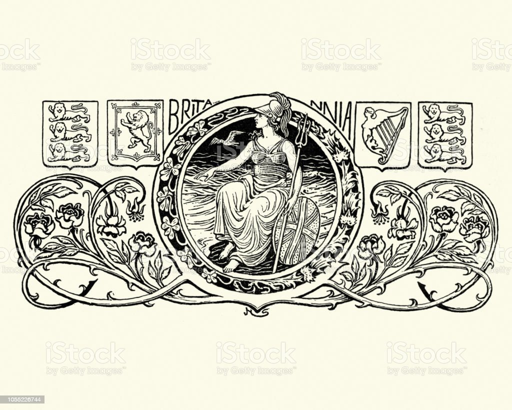 Britannia, symbol of the British Empire vector art illustration