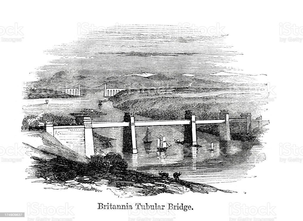 Britannia Tubular Bridge vector art illustration