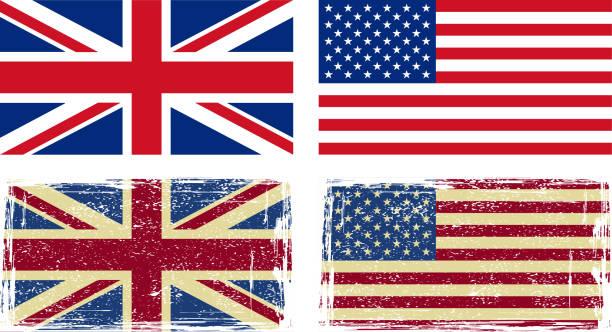 ilustraciones, imágenes clip art, dibujos animados e iconos de stock de bandera británica y a la americana. - bandera británica