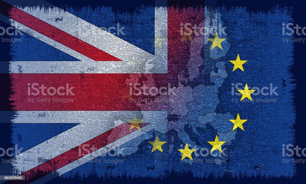 British and European flag vector art illustration