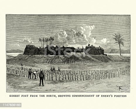 Vintage engraving of Nile frontier force, Koshey Fort, 19th Century