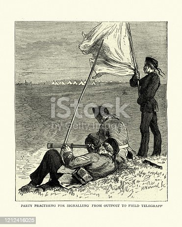 Vintage engraving of British army signallers signaling from outpost to field telegraph. Sketches at the Autumn manuevres, British Victorian army training, 19th Century