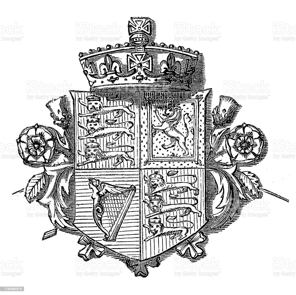 British Coat of Arms | Antique Design Illustrations royalty-free stock vector art