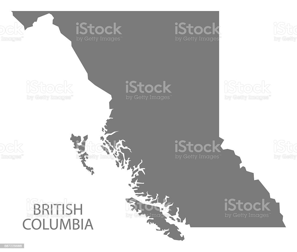British Columbia Canada Map grey vector art illustration