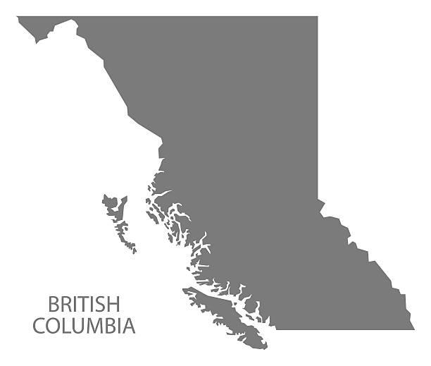 British Columbia Canada Map grey vector art illustration