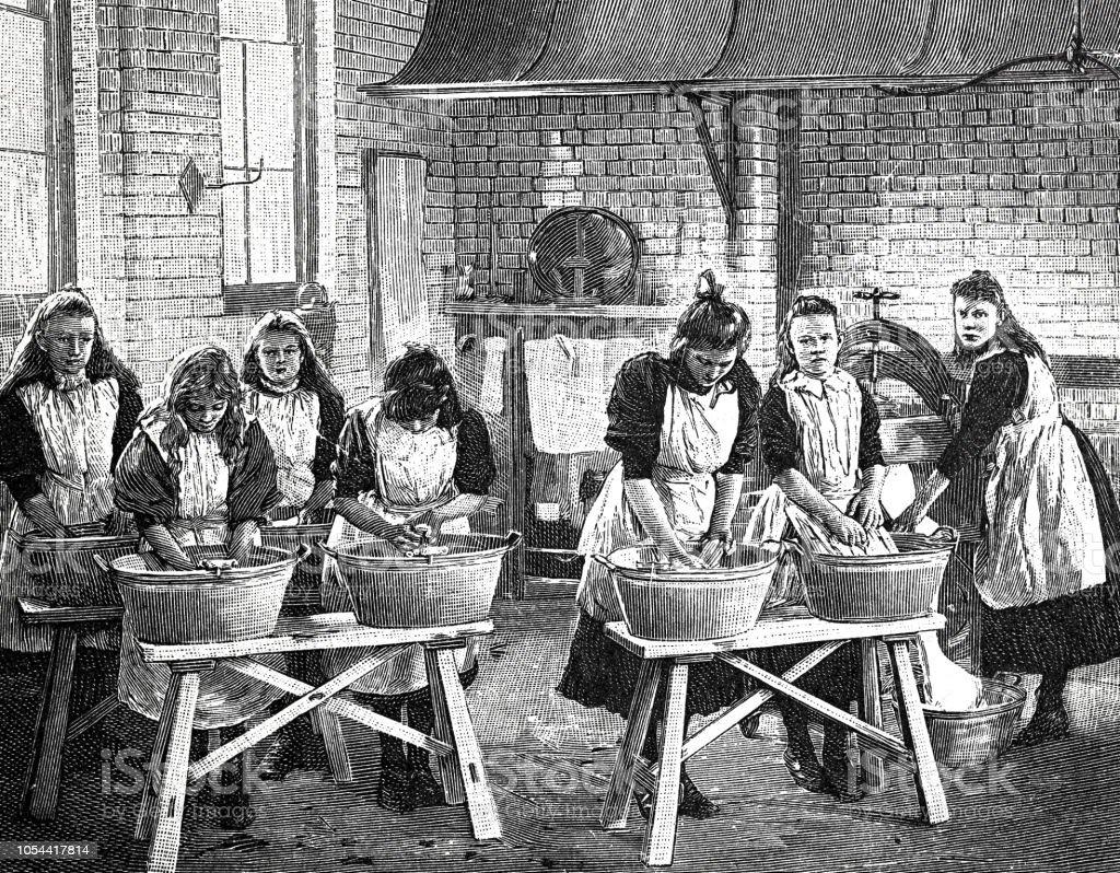 Escola de meninas britânicas para tarefas domésticas - prática exercitar, lavagem - ilustração de arte em vetor