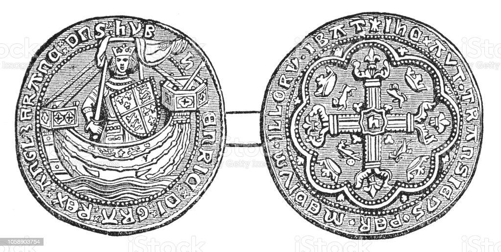 British Gold Noble Coin of King Edward III (14th Century) vector art illustration