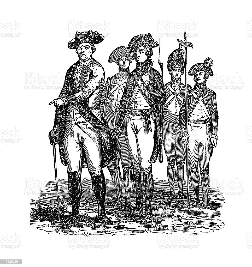 British Infantrymen in 1775   Historic illustrations vector art illustration