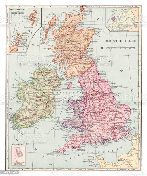 イギリス諸島地図 1892 - アイルランドのベクターアート素材や画像を ...