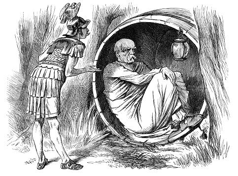 British London satire caricatures comics cartoon illustrations: Alexander and Diogenes