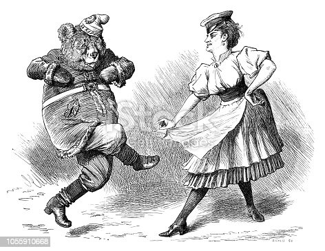 British London satire caricatures comics cartoon illustrations: Dancing bear