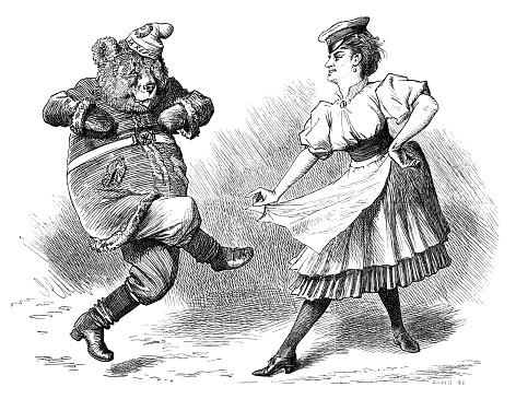 British London satire caricatures comics cartoon illustrations: Dancing bear