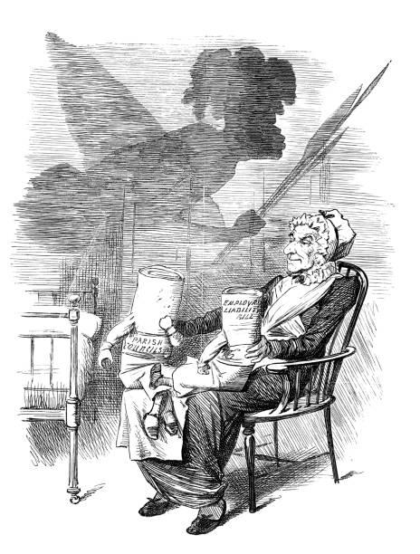british london satire caricatures comics cartoon illustrations: black shadow - old man puppet stock illustrations, clip art, cartoons, & icons