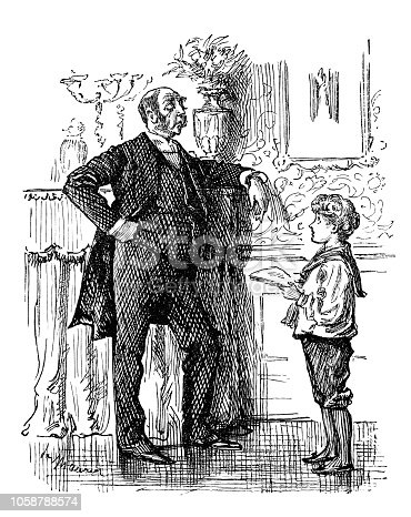 British London satire caricatures comics cartoon illustrations: Boy and father