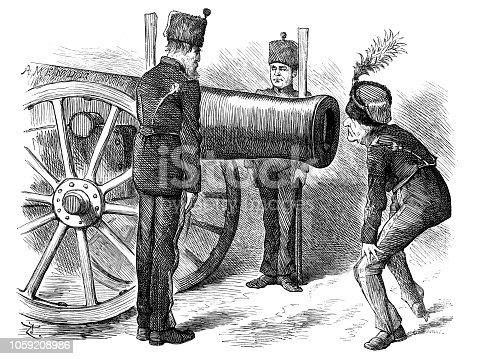 British London satire caricatures comics cartoon illustrations: Cannon
