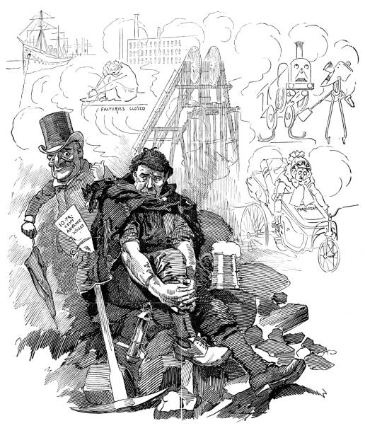 ilustrações de stock, clip art, desenhos animados e ícones de british london satire caricatures comics cartoon illustrations: coal - greve