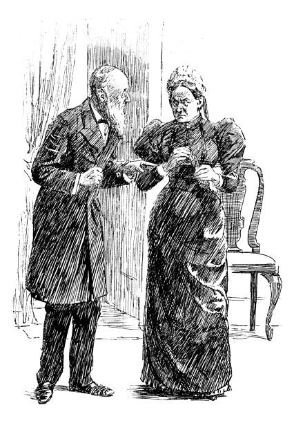 british london satire caricatures comics cartoon illustrations: couple - old man puppet stock illustrations, clip art, cartoons, & icons