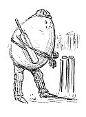 British London satire caricatures comics cartoon illustrations: Egg playing cricket