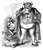 British London satire caricatures comics cartoon illustrations: Frog and bull