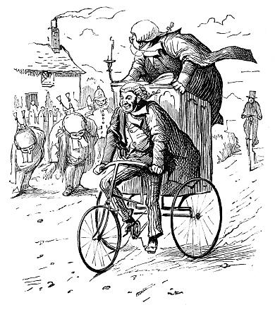 British London satire caricatures comics cartoon illustrations: Travelling Tribunal