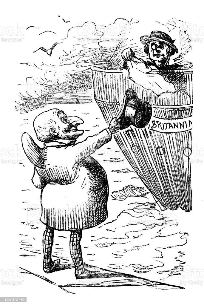 British London satire caricatures comics cartoon illustrations vector art illustration