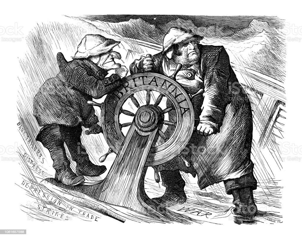 British London satire caricatures comics cartoon illustrations: Tempest vector art illustration