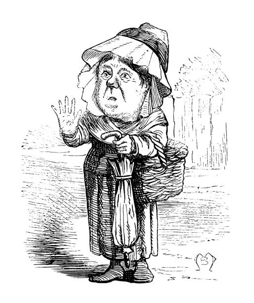 british london satire caricatures comics cartoon illustrations - old man puppet stock illustrations, clip art, cartoons, & icons