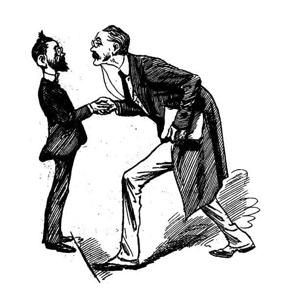 illustrazioni stock, clip art, cartoni animati e icone di tendenza di british london satire caricatures comics cartoon illustrations: handshake - bassino