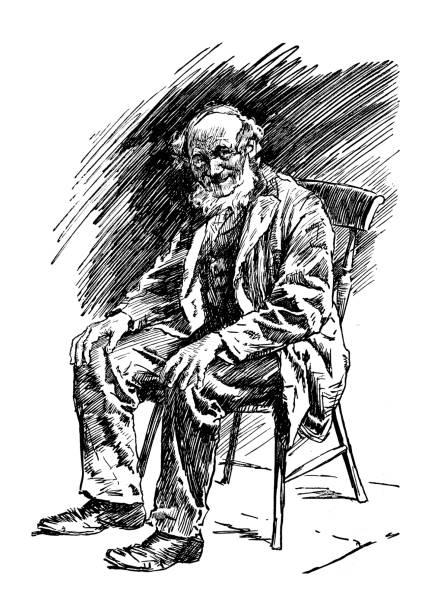 british london satire caricatures comics cartoon illustrations: man sit - old man sitting chair drawing stock illustrations, clip art, cartoons, & icons