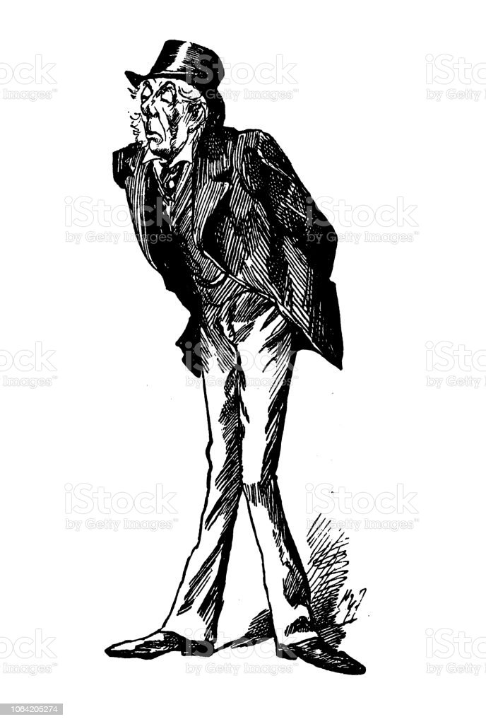British London satire caricatures comics cartoon illustrations: Man vector art illustration