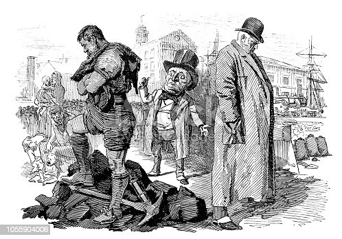 British London satire caricatures comics cartoon illustrations: Miners and coal owners