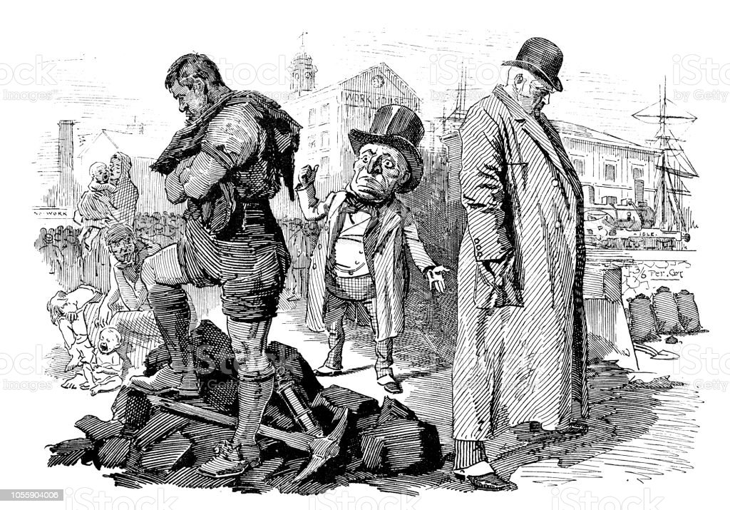 British London satire caricatures comics cartoon illustrations: Miners and coal owners - ilustração de arte vetorial