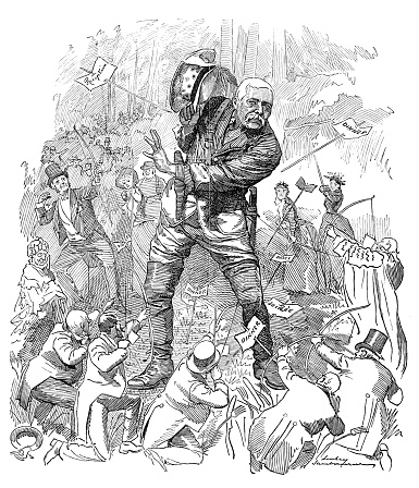 British London satire caricatures comics cartoon illustrations: Modern Hercules and the Pygmies